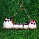 Famille 5 Chouettes hiboux tissu mélangé