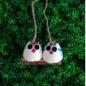 2 petites chouettes tissu Hibou 5cm