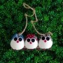 3 petites chouettes tissus mélangés 5cm