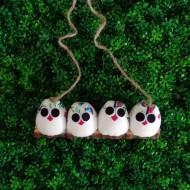 4 petites chouettes Hibou en tissu hibou