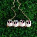 4 petites chouettes tissu Hibou 5cm