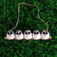 5 petites chouettes à personnaliser tissu Hibou