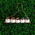5 petites chouettes tissu Coccinelle 5cm