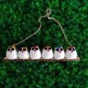 6 petites chouettes tissu Coccinelle 5cm