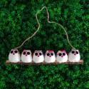6 petites chouettes tissu Fleur 5cm