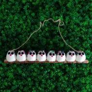 la chouette famille de 8 petites chouettes Hibou