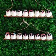 la chouette famille de 8 petites chouettes mélange de tissu