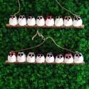 8 petites chouettes tissus mélangés 5cm