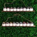9 petites chouettes tissus mélangés 5cm