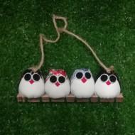 chouette famille de 4 petites chouettes personnalisées