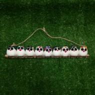 9 petites chouettes tissu Hiboux mélangé 5cm