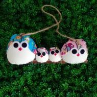 famille chouette décoration hibou artisanale