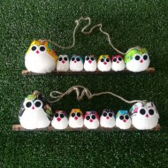 Famille 7 chouettes tissus hibou